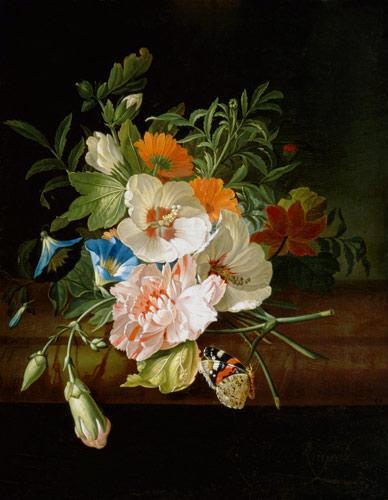 Maalaus: Rachel Ruysch  (1664–1750): Blumenstilleben mit Schmetterlingen auf einer Steinbank (n.1700)