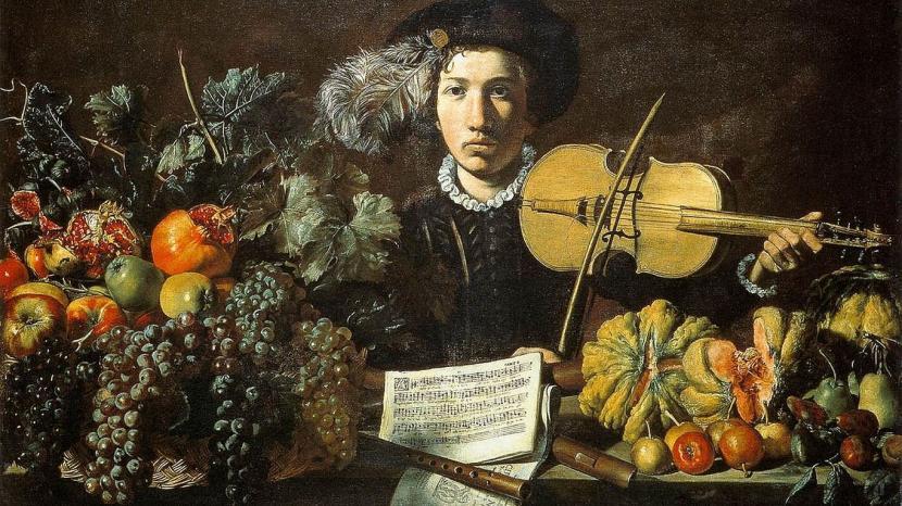 Maalaus: Maestro della Natura Morta Acquavella, Natura Morta con Violinista (n.1620)